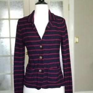 Tahari Womens Blazer Knit Blue Red Striped S